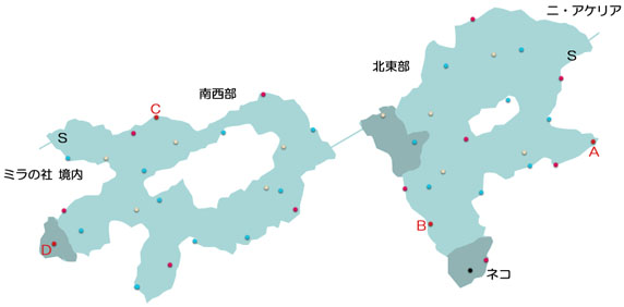 ニ・アケリア参道のマップ