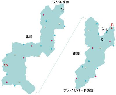 トウライ冷原のマップ
