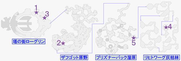 緑の瞳石・フィーアの入手マップ