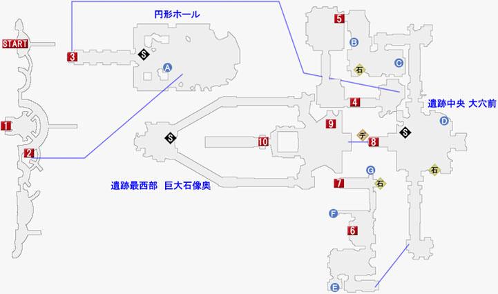 天族の社イズチの遺跡とマビノギオ山岳遺跡のマップ