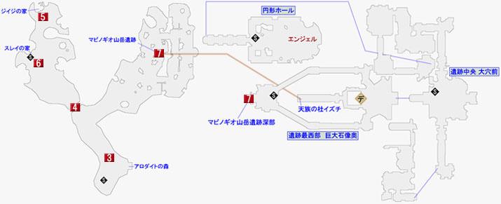 天族の杜イズチ、マビノギオ山岳遺跡のマップ