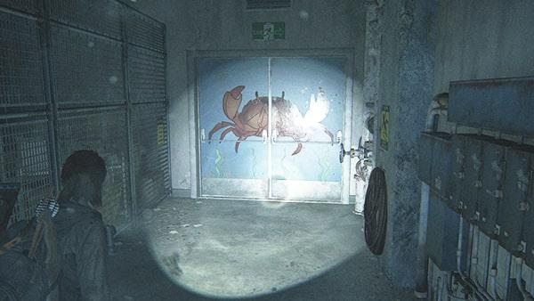 カニが描かれたドア