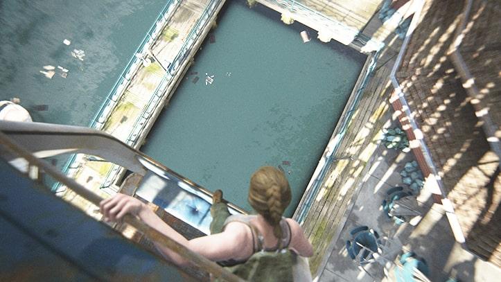 海へ飛び込もうとしているアビーの様子