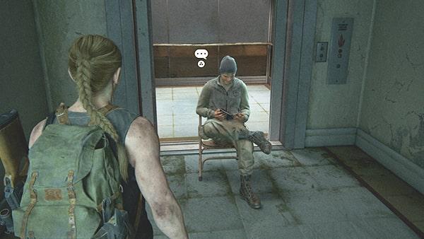 見張りの兵士に話しかけるシーン