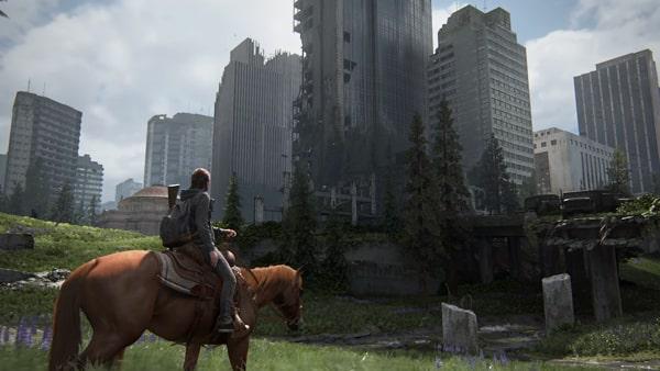 荒廃したラストオブアス2のビル風景