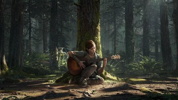 ラストオブアス2のエリーがギターを弾いている壁紙