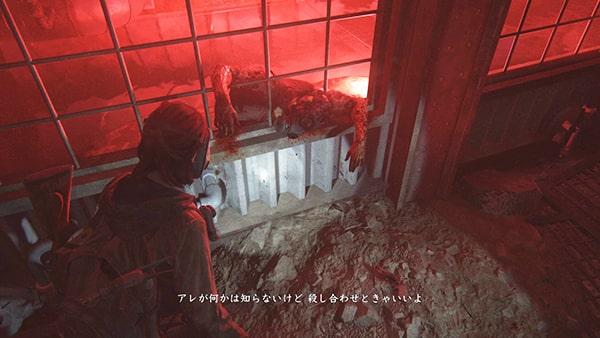 ガスマスクの兵士が倒れているシーン