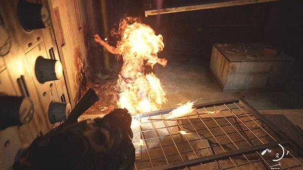 シャンブラーを火炎瓶で燃やしているシーン