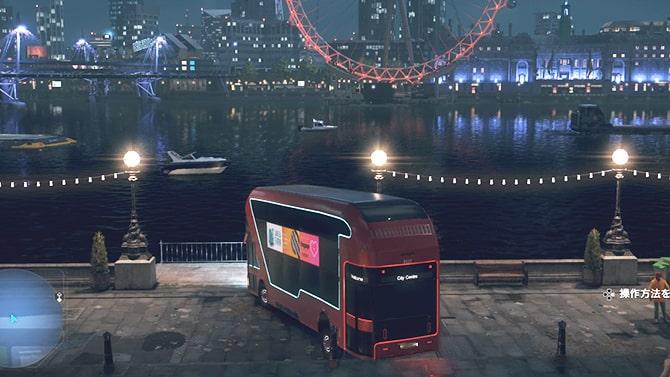 2階建てバスをテムズ川に沈める様子