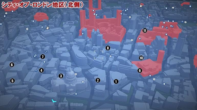ETOの入手場所マップ、シティ・オブ・ロンドン地区の北側