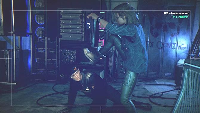 ナウトがアルビオンの警備員を踏んづけてる様子