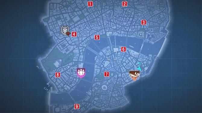 任務が発生する場所のマップ
