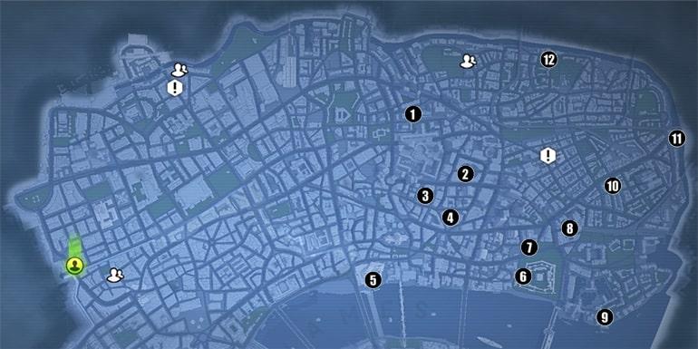 遺物ファイルの入手場所マップ
