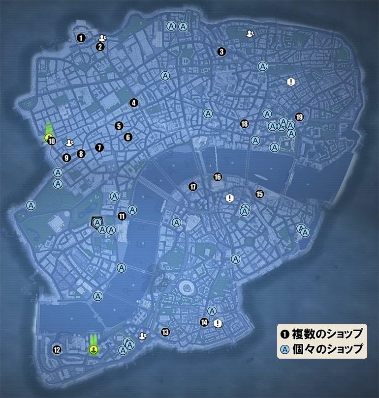 ショップの場所一覧マップ
