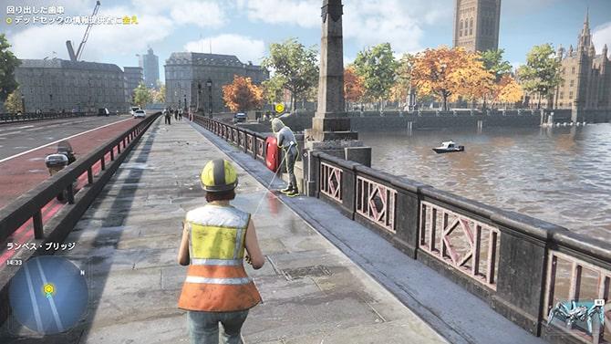 ウェストミンスター橋で情報提供者から依頼を受けるシーン