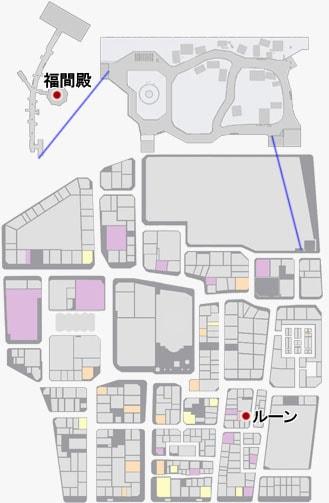 福間殿とルーンの場所のマップ