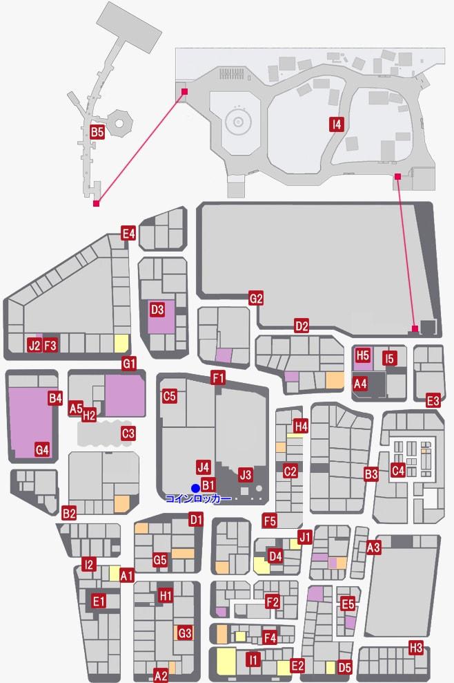 コインロッカーの鍵の入手場所のマップ