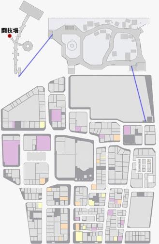地下闘技場の場所のマップ