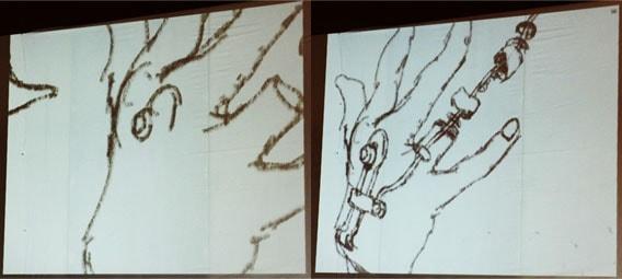 寺田克也のライブドローイング作品の手の描き方