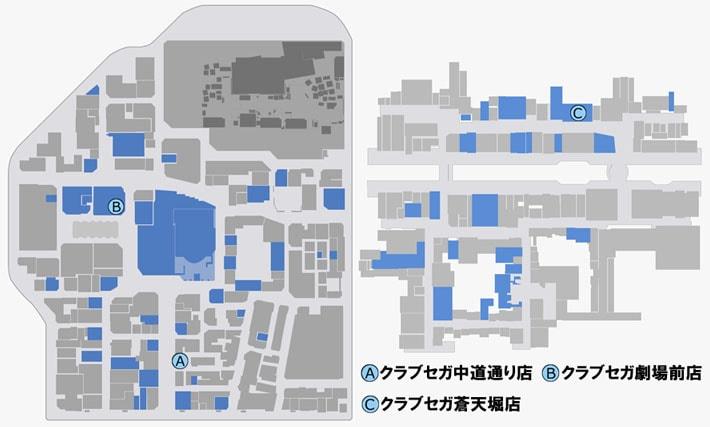 電脳戦機バーチャロンをプレイできる場所のマップ