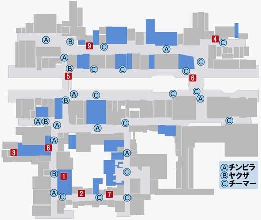 蒼天堀のエンカウントボスのマップ
