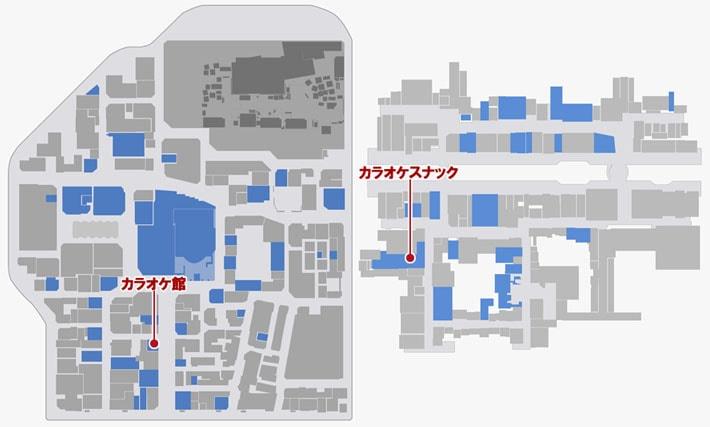 カラオケをプレイできる場所のマップ