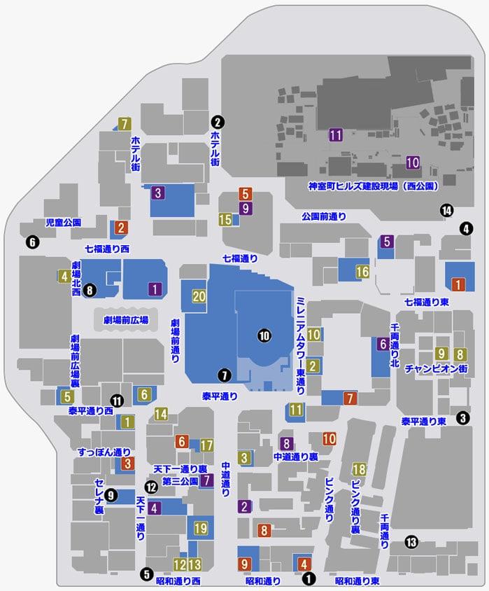 神室町のマップ