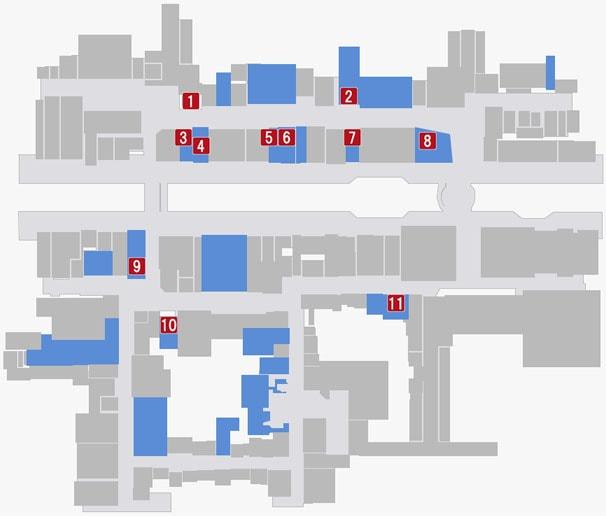 蒼天堀の飲食店がある場所のマップ