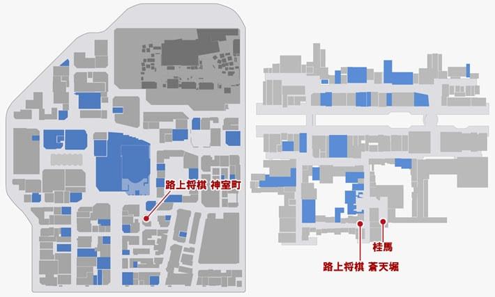 将棋をプレイできる場所のマップ