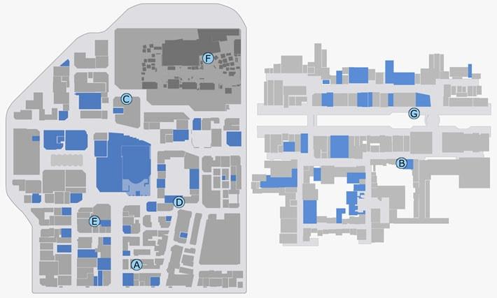 武器ショップの場所マップ