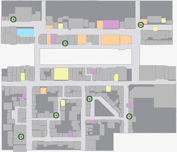 蒼天堀にあるドリームマシンの場所のマップ