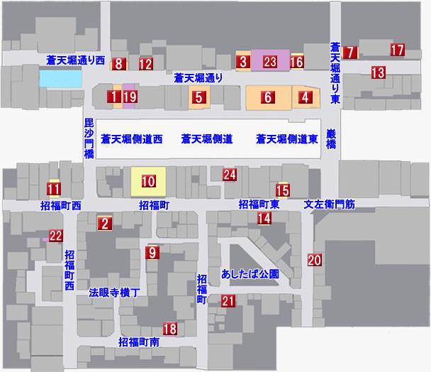 蒼天堀のマップ