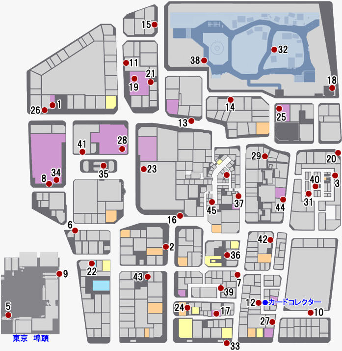 神室町で入手できるテレホンカードのマップ