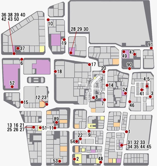 神室町で発生するサブストーリーのマップ