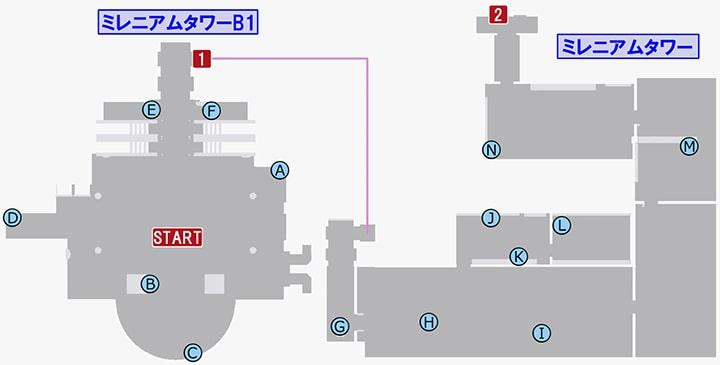 龍が如く7のミレニアムタワーB1の攻略マップ