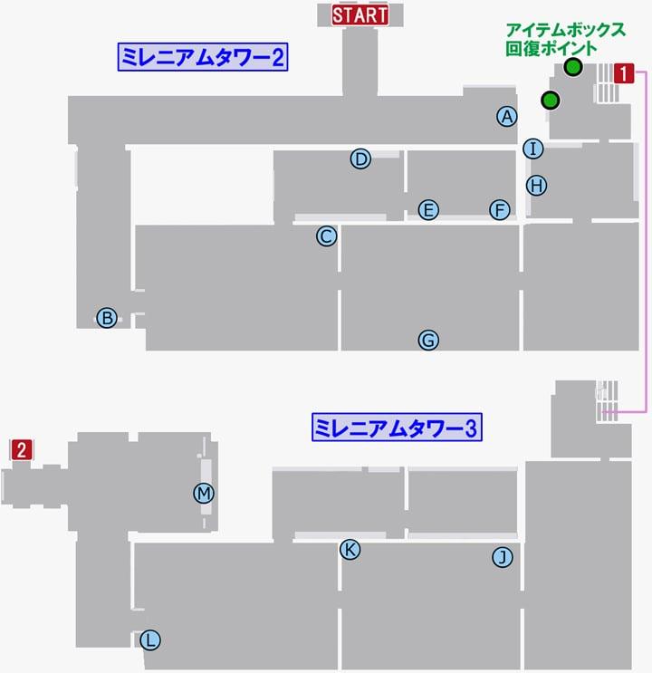 龍が如く7のミレニアムタワー2・3の攻略マップ