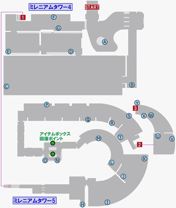 龍が如く7のミレニアムタワー4・5の攻略マップ