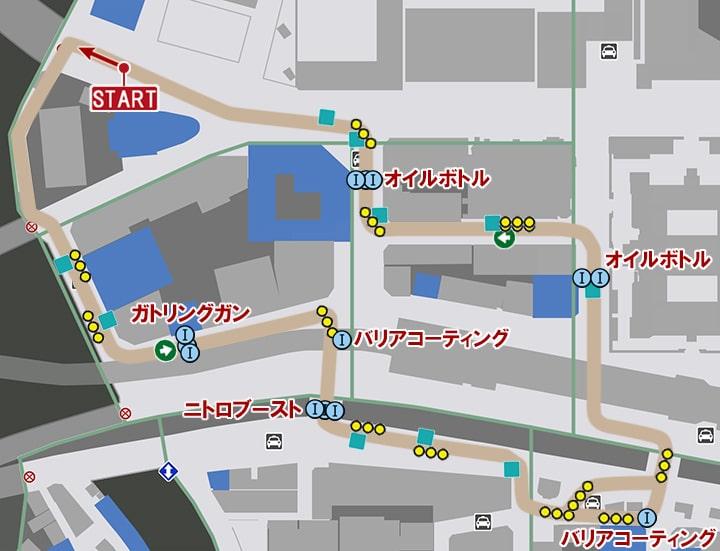 ペインサーキットのコースマップ