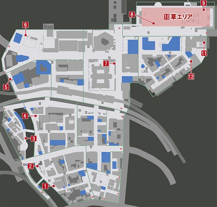 龍が如く7・虫収集の入手場のマップ