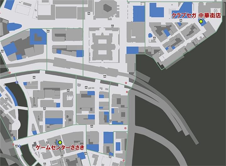 UFOキャッチャーをプレイできるゲームセンターささき、クラブセガ中華街店の場所