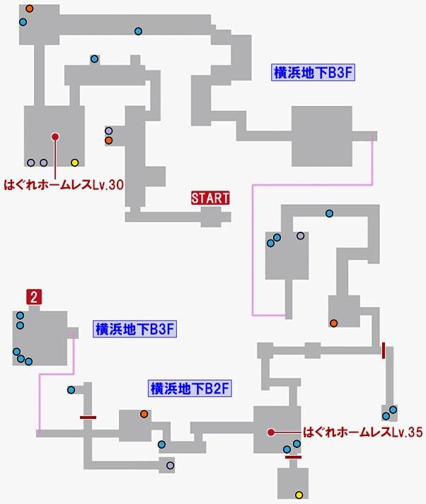 龍が如く7・横浜地下B3F~B2Fの攻略マップその2